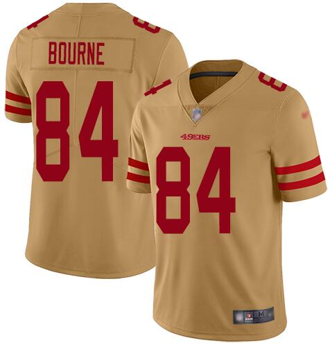 Nike 49ers 84 Kendrick Bourne Gold Inverted Legend Limited Jersey