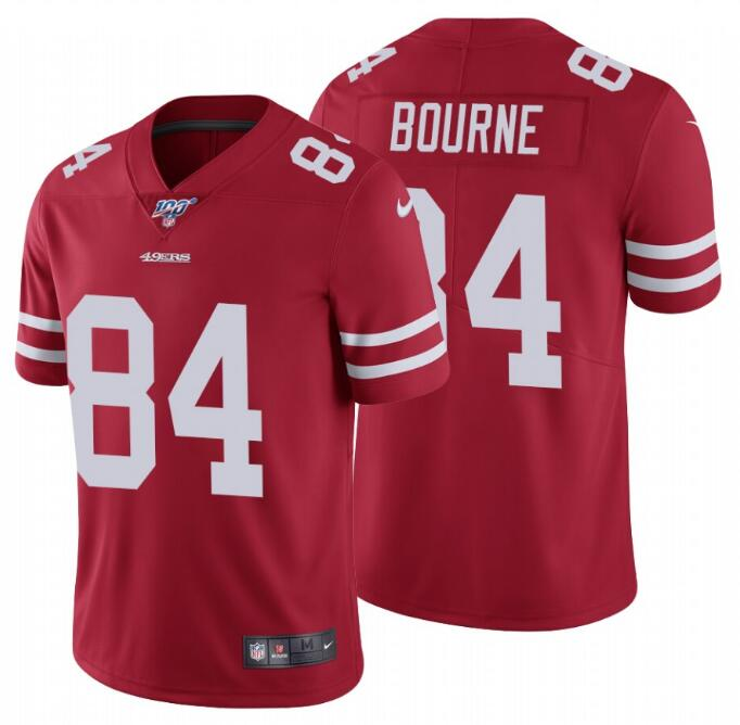 Nike 49ers 84 Kendrick Bourne Red 100th Season Vapor Untouchable Limited Jersey