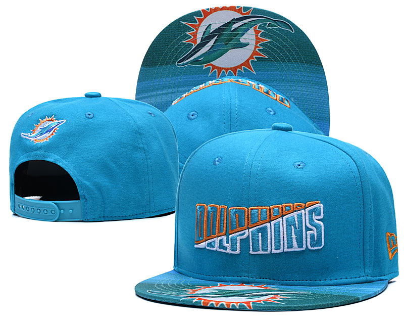 Dolphins Team Logo Aque 2020 NFL Summer Sideline Adjustable Hat YD