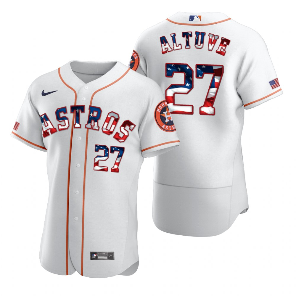 Astros 27 Jose Altuve White USA Flag Fashion Nike Flexbase Jersey