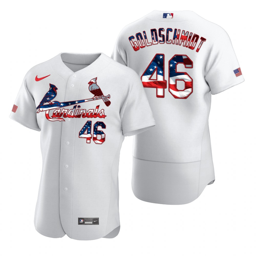 Cardinals 46 Paul Goldschmidt White USA Flag Fashion Nike Flexbase Jersey