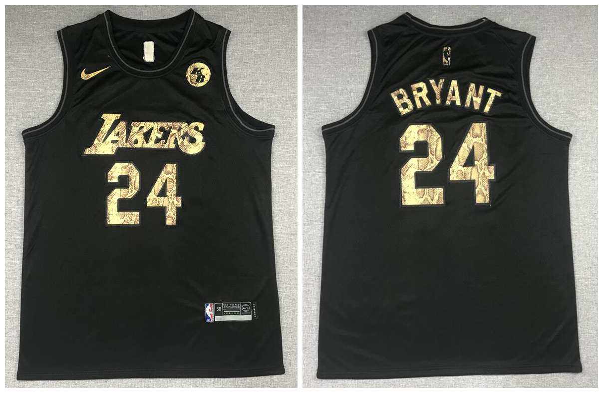 Lakers 24 Kobe Bryant Black Commemorative Swingman Jersey