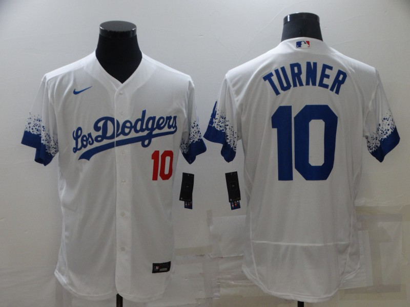 Dodgers 10 Justin Turner White 2021 City Connect Flexbase Jersey