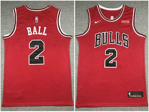Bulls 2 Lonzo Ball Red Nike Swingman Jersey