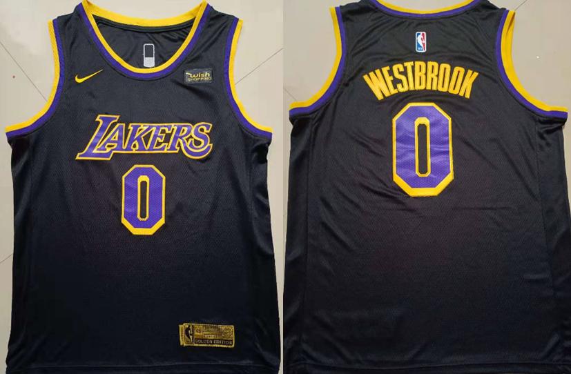 Lakers 0 Russell Westbrook Black Nike Earned Edition Swingman Jersey
