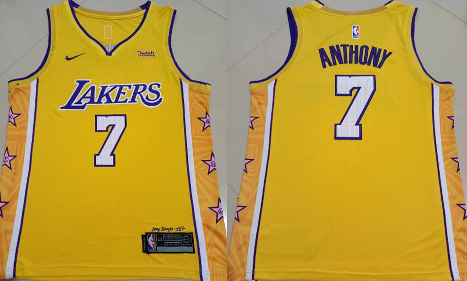 Lakers 7 Carmelo Anthony Yellow Nike City Edition Swingman Jersey