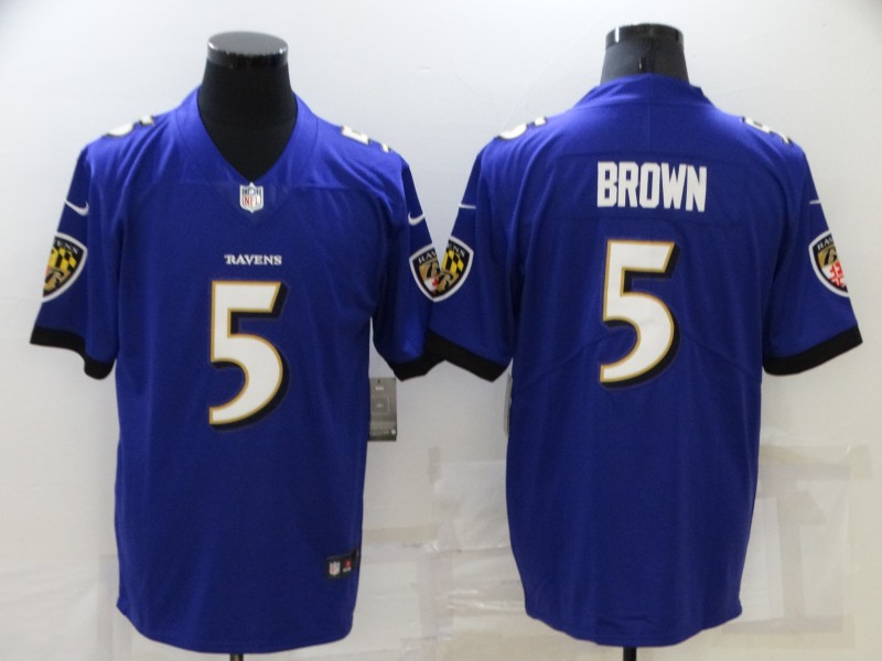 Nike Ravens 5 Marquise Brown Purple Vapor Untouchable Limited Jersey