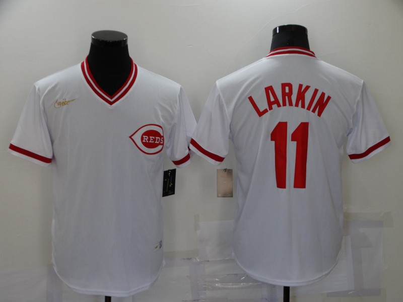 Reds 11 Barry Larkin White Nike Cooperstown Collection Jersey