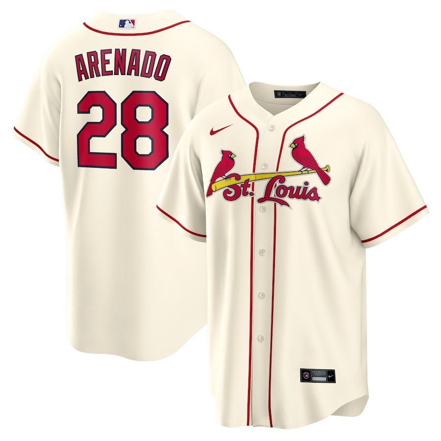 Cardinals 28 Nolan Arenado Cream Nike Cool Base Jersey