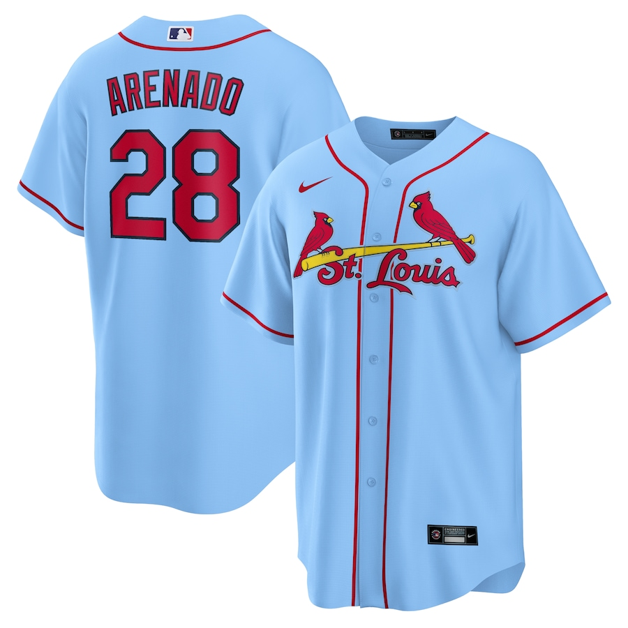 Cardinals 28 Nolan Arenado Light Blue Nike Cool Base Jersey