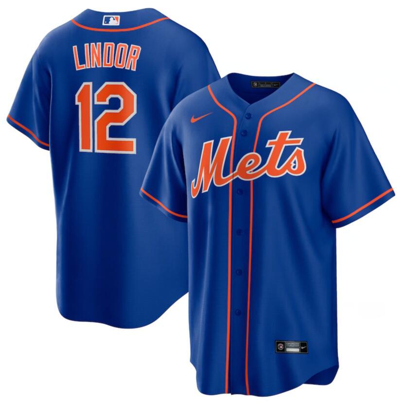 Mets 12 Francisco Lindor Royal Nike Cool Base Jersey