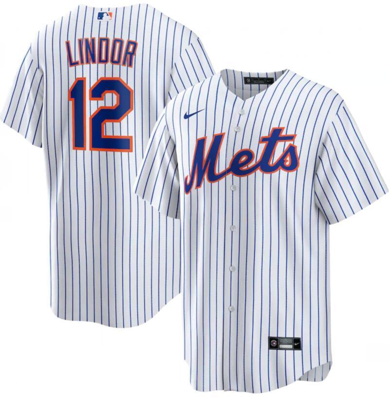 Mets 12 Francisco Lindor White Nike Cool Base Jersey