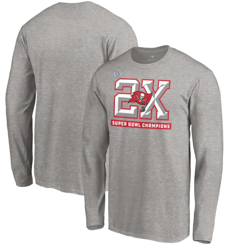 Men's Tampa Bay Buccaneers Fanatics Branded Heathered Gray 2 Time Super Bowl Champions Long Sleeve T-Shirt