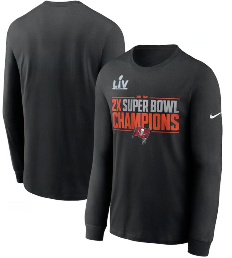 Men's Tampa Bay Buccaneers Nike Black 2 Time Super Bowl Champions Field Goal Long Sleeve T-Shirt