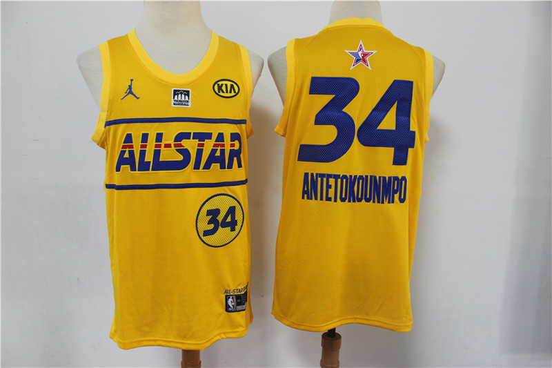 Bucks 34 Giannis Antetokounmpo Yellow 2021 NBA All-Star Jordan Brand Swingman Jersey