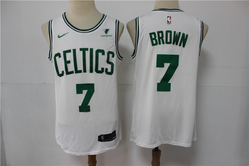 Celtics 7 Jaylen Brown White Nike Swingman Jersey