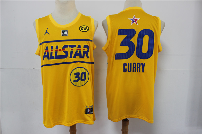 Warriors 30 Stephen Curry Yellow 2021 NBA All-Star Jordan Brand Swingman Jersey