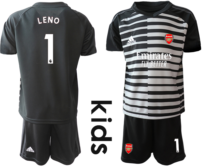 2020-21 Arsenal 1 LENO Black Youth Goalkeeper Soccer Jersey