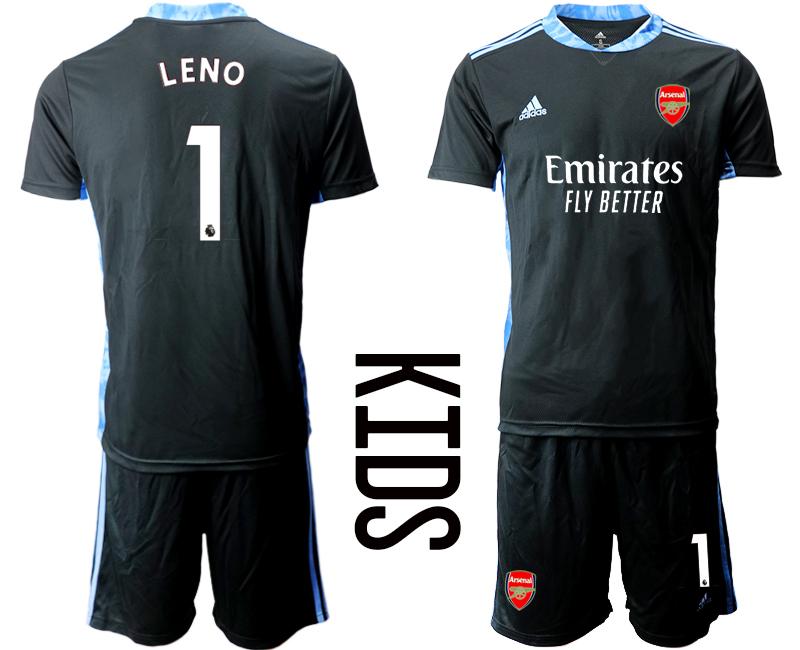 2020-21 Arsenal 1 LENO Black Youth Goalkeeper Soccer Jerseys
