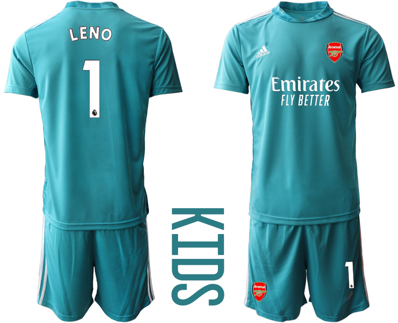2020-21 Arsenal 1 LENO Blue Youth Goalkeeper Soccer Jersey
