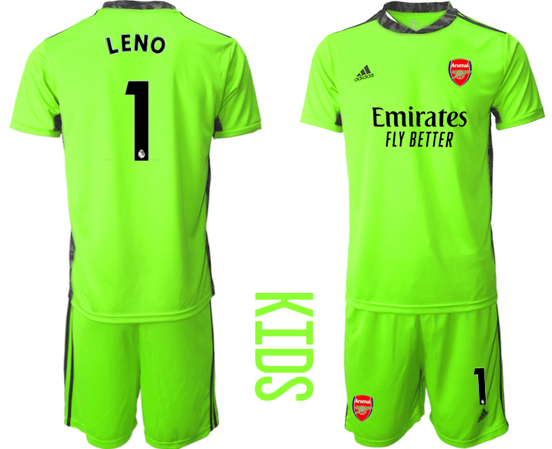 2020-21 Arsenal 1 LENO Fluorescent Youth Goalkeeper Soccer Jersey