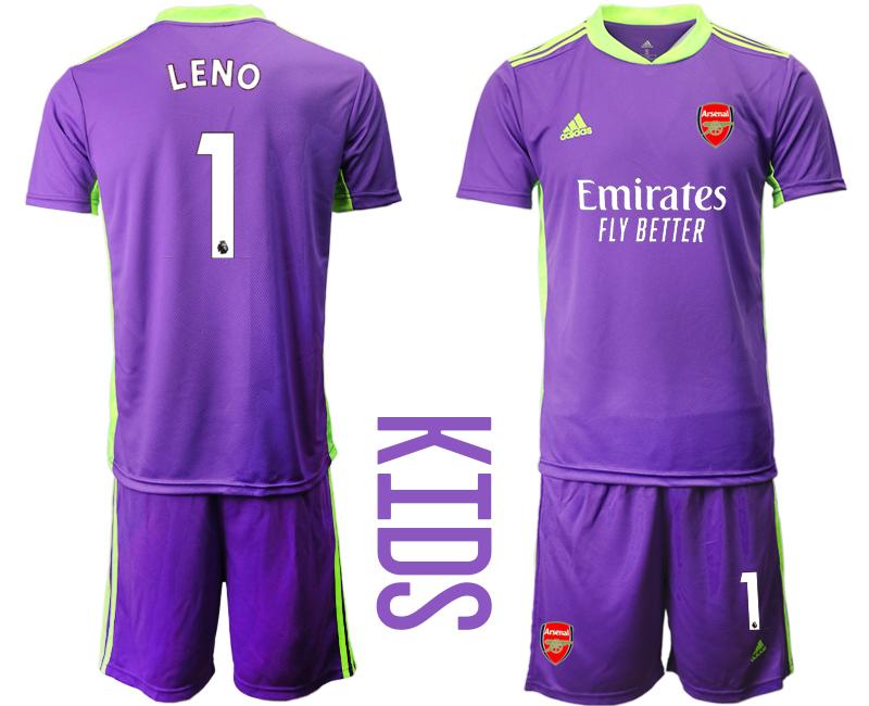 2020-21 Arsenal 1 LENO Purple Youth Goalkeeper Soccer Jersey