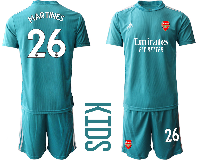 2020-21 Arsenal 26 MARTINES Blue Youth Goalkeeper Soccer Jersey