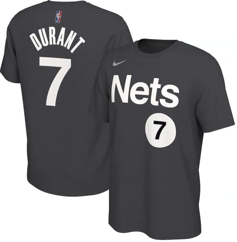 Men's Brooklyn Nets Kevin Durant Nike Black 2020-21 Earned Edition Name & Number T-Shirt