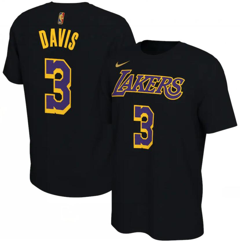 Men's Los Angeles Lakers Anthony Davis Nike Black 2020-21 Earned Edition Name & Number T-Shirt