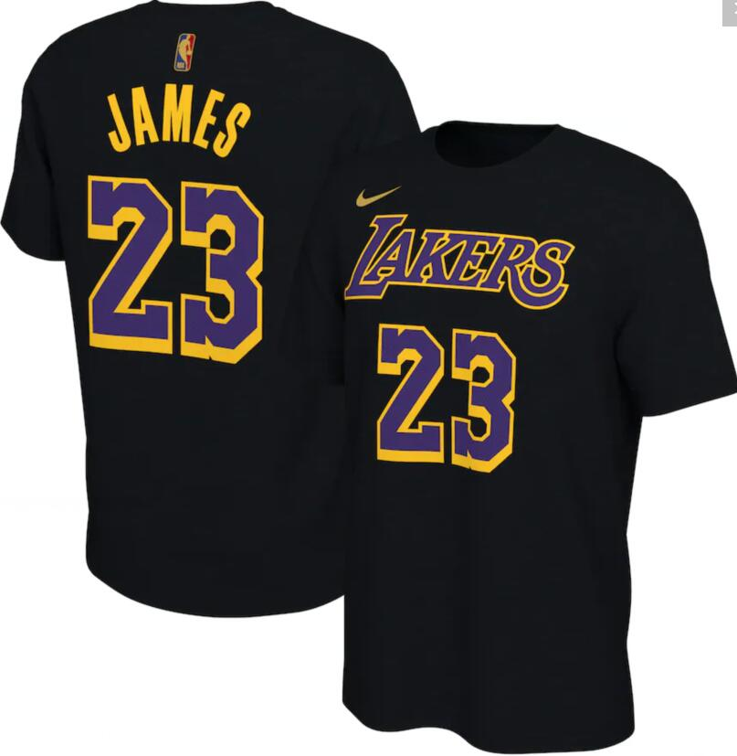 Men's Los Angeles Lakers LeBron James Nike Black 2020-21 Earned Edition Name & Number T-Shirt