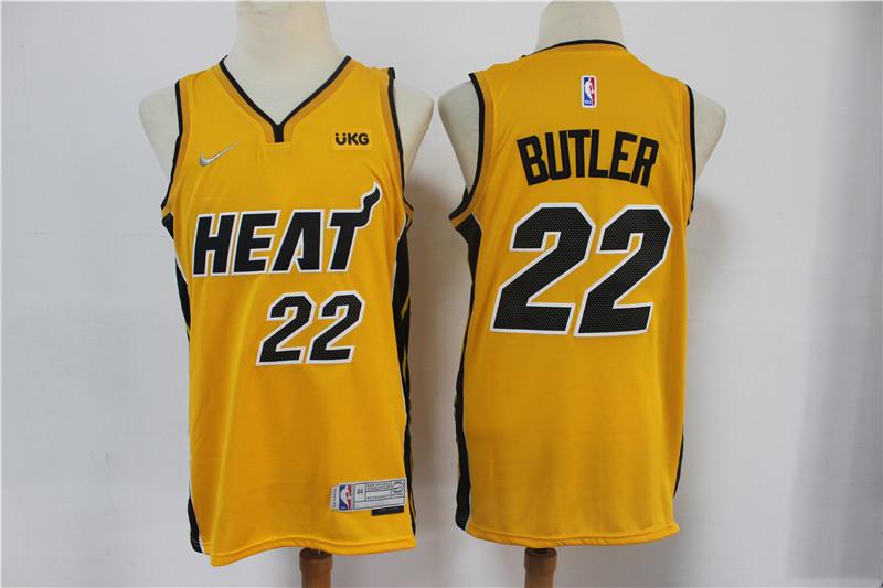 Heat 22 Jimmy Butler Yellow 2021 Earned Edition Nike Swingman Jersey