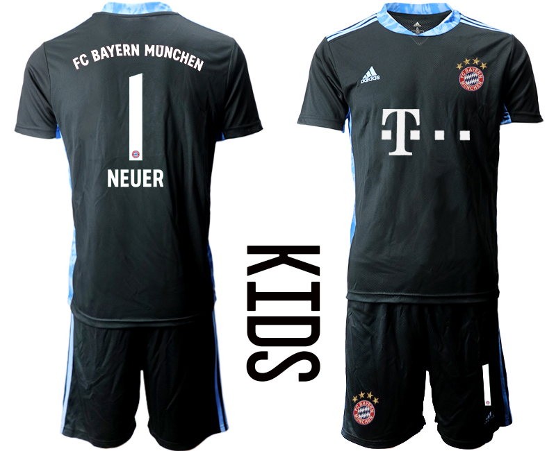 2020-21 Bayern Munich 1 NEUER Black Youth Goalkeeper Soccer Jersey