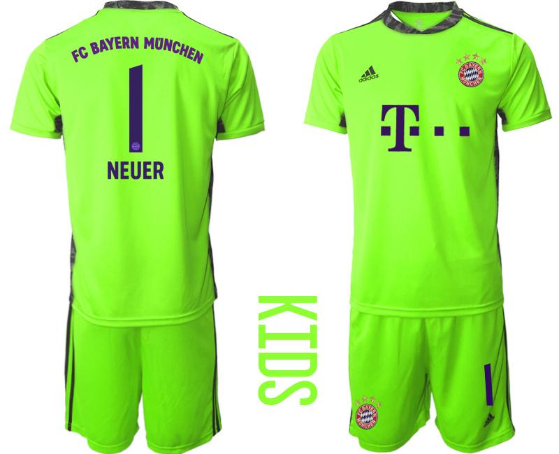 2020-21 Bayern Munich 1 NEUER Fluorescent Green Youth Goalkeeper Soccer Jersey