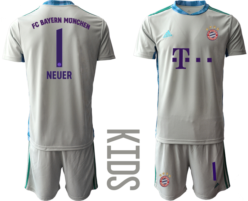 2020-21 Bayern Munich 1 NEUER Gray Youth Goalkeeper Soccer Jersey