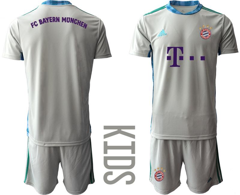 2020-21 Bayern Munich Gray Youth Goalkeeper Soccer Jersey