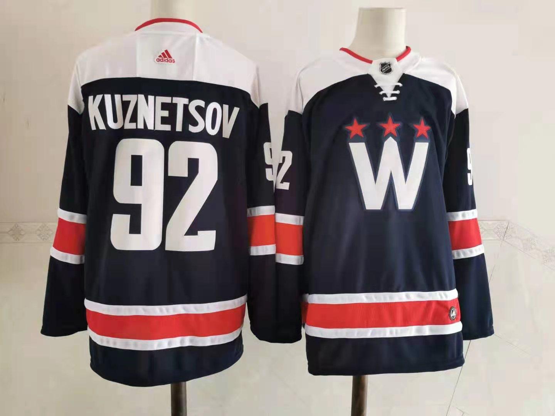 Capitals 92 Evgeny Kuznetsov Navy 2020-21 Adidas Jersey