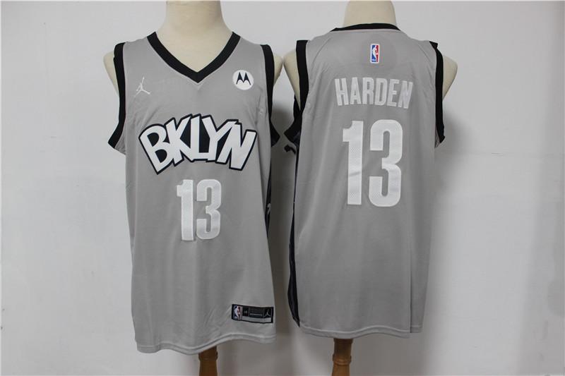 Nets 13 James Harden Gray 2021 Swingman Jersey