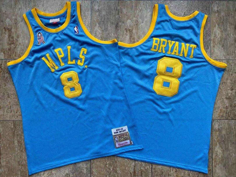 Lakers 8 Kobe Bryant Blue MPLS 2001-02 Hardwood Classics Jersey