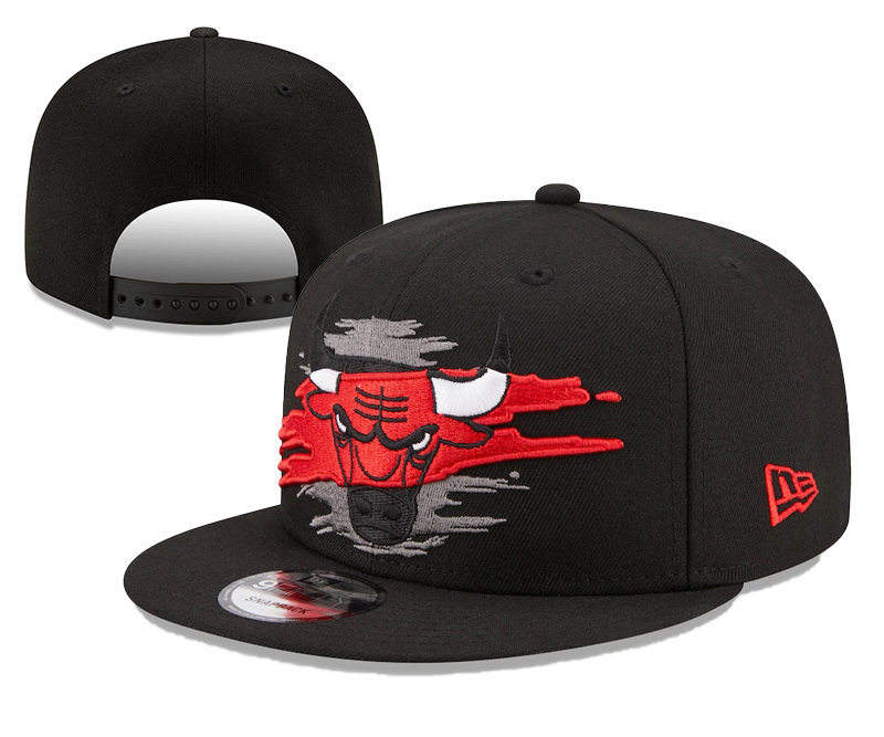 Bulls Team Logo Tear Black New Era Adjustable Hat YD