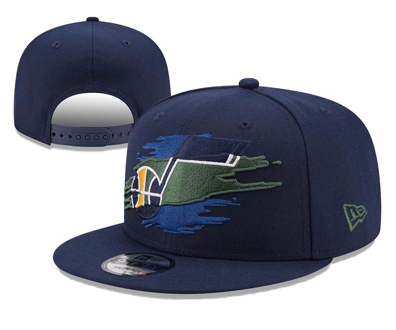 Jazz Team Logo Tear Navy New Era Adjustable Hat YD