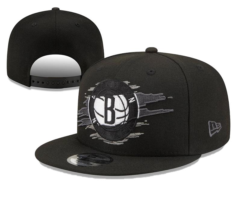 Nets Team Logo Tear Black New Era Adjustable Hat YD