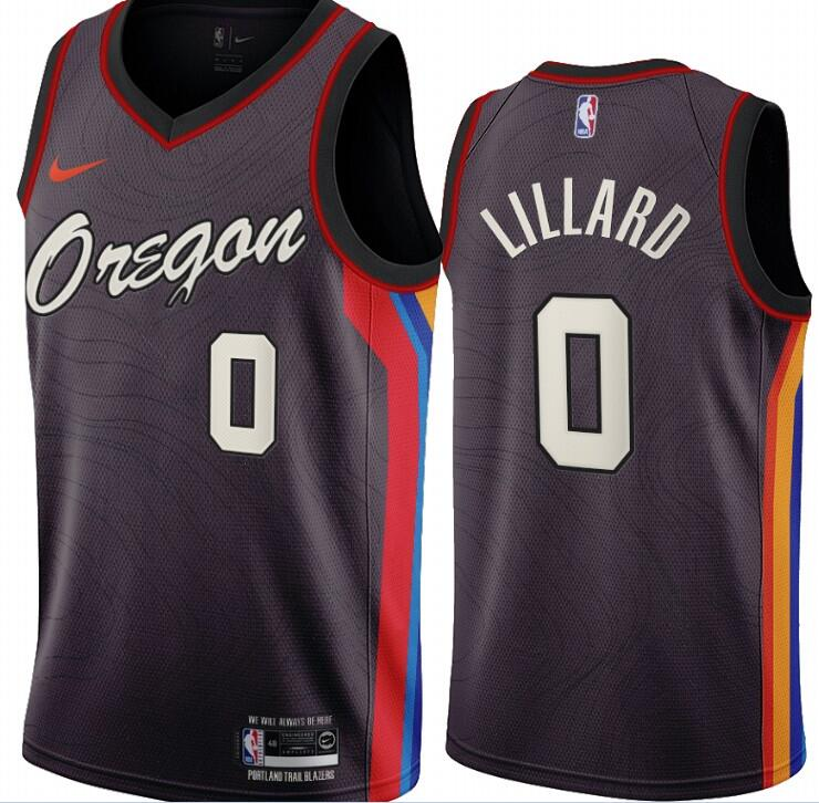 Blazers 0 Damian Lillard Black 2020-21 City Edition Swingman Jersey