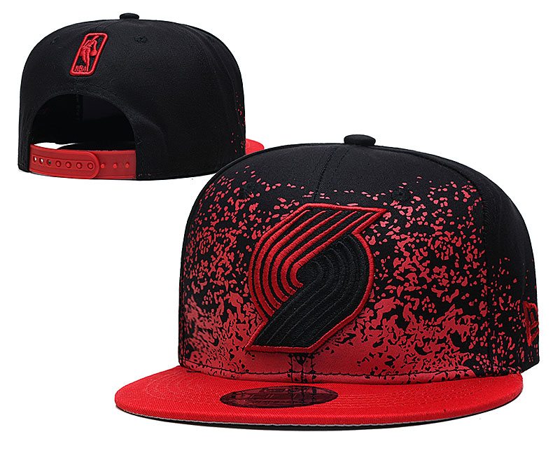 Blazers Team Logo New Era Black Red Fade Up Adjustable Hat YD