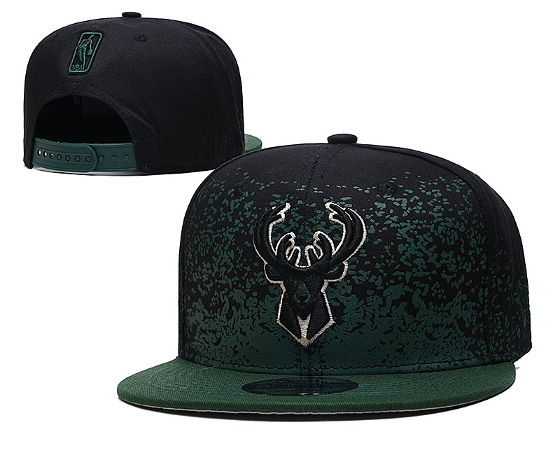 Bucks Team Logo New Era Black Green Fade Up Adjustable Hat YD
