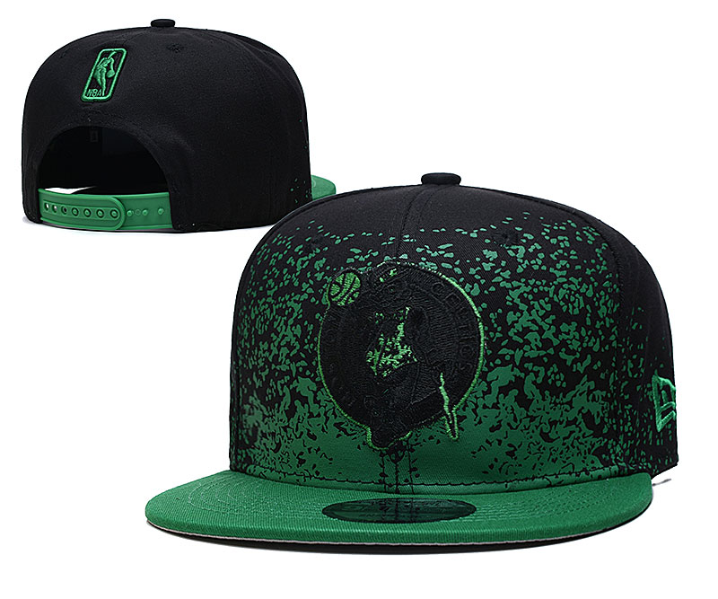 Celtics Team Logo New Era Black Green Fade Up Adjustable Hat YD