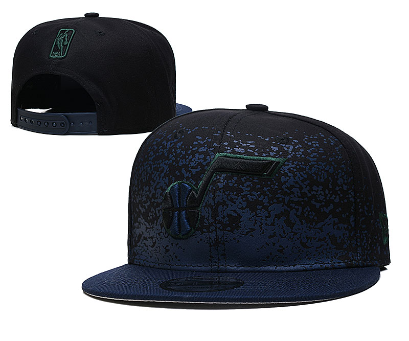 Jazz Team Logo New Era Black Blue Fade Up Adjustable Hat YD