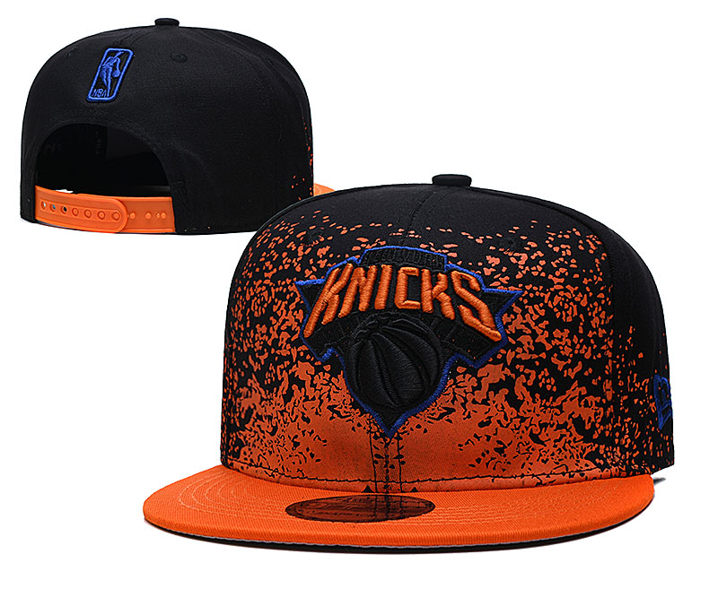Knicks Team Logo New Era Black Orange Fade Up Adjustable Hat YD