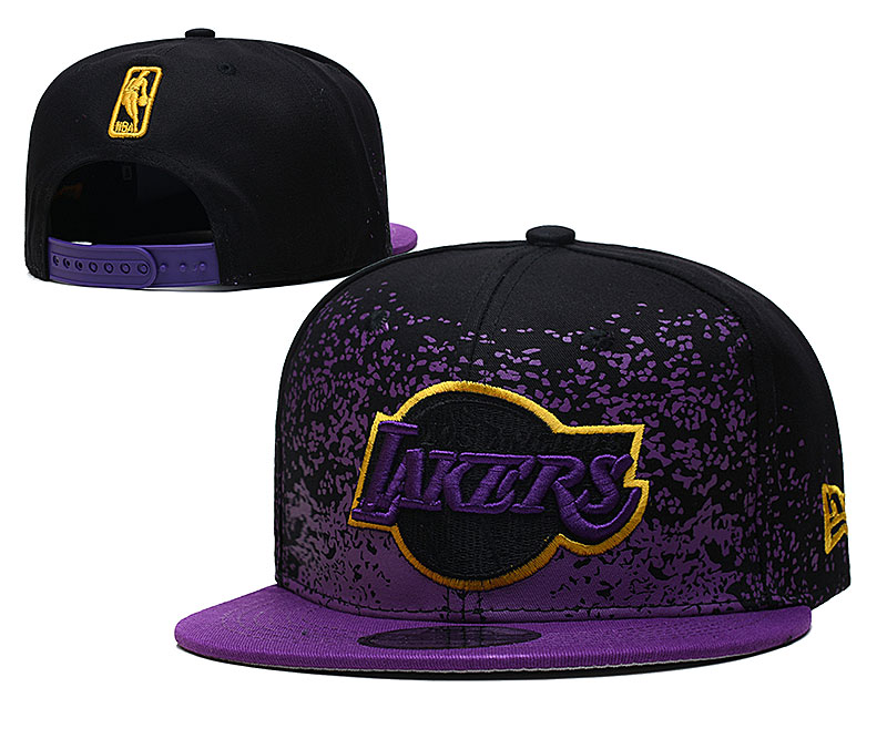 Lakers Team Logo New Era Purple Black Fade Up Adjustable Hat YD