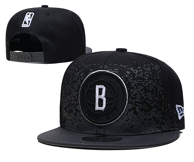 Nets Team Logo New Era Black Fade Up Adjustable Hat YD