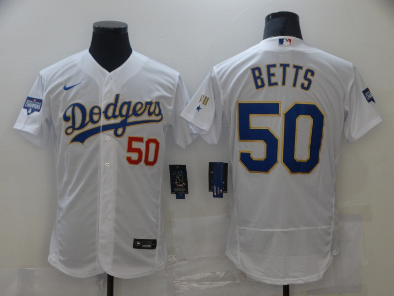 Dodgers 50 Mookie Betts White Nike 2021 Gold Program Flexbase Jersey